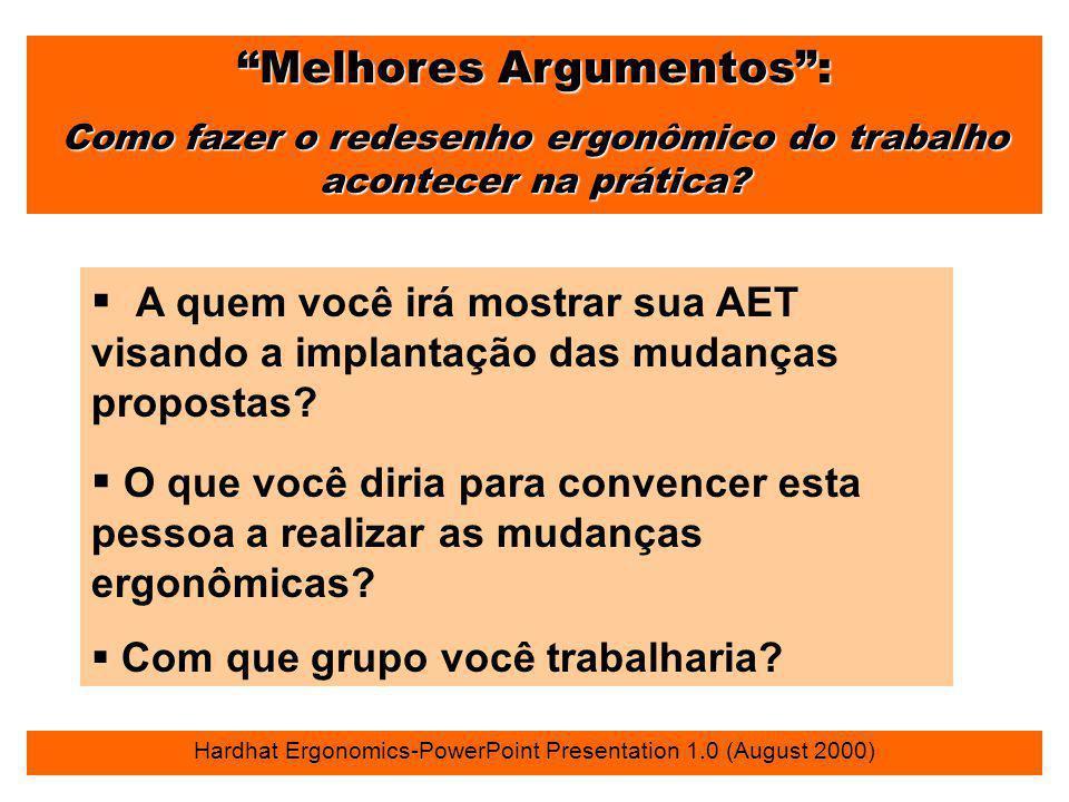 """""""Melhores Argumentos"""": Como fazer o redesenho ergonômico do trabalho acontecer na prática? Hardhat Ergonomics-PowerPoint Presentation 1.0 (August 2000"""