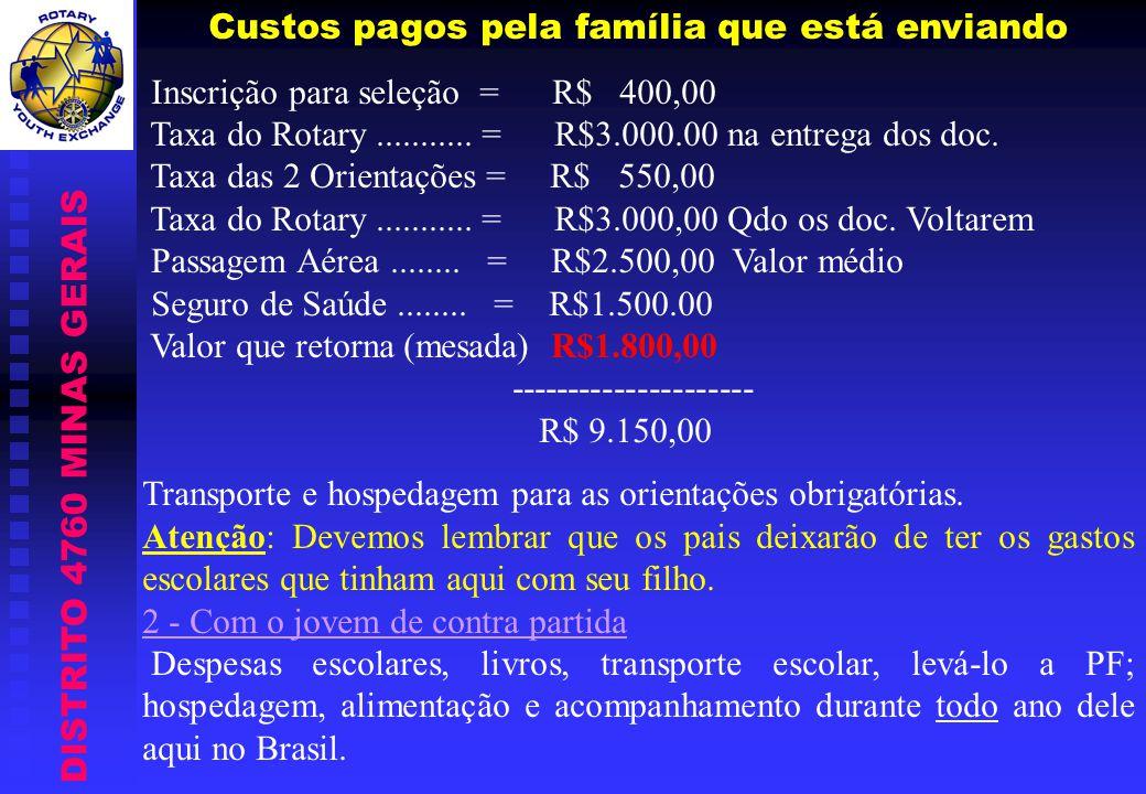 DISTRITO 4760 MINAS GERAIS Custos pagos pela família que está enviando Inscrição para seleção = R$ 400,00 Taxa do Rotary........... = R$3.000.00 na en