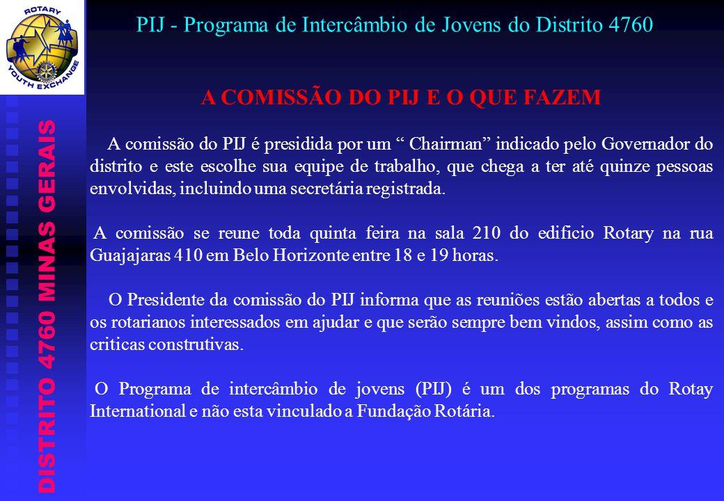 DISTRITO 4760 MINAS GERAIS PIJ - Programa de Intercâmbio de Jovens do Distrito 4760 A COMISSÃO DO PIJ E O QUE FAZEM A comissão do PIJ é presidida por