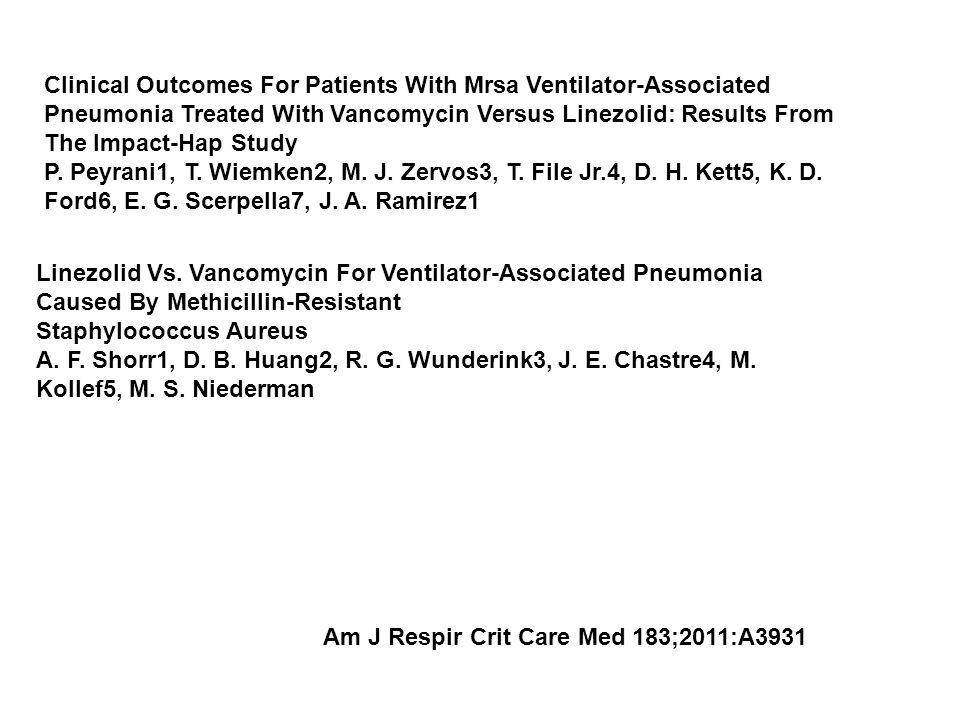Linezolid Vs. Vancomycin For Ventilator-Associated Pneumonia Caused By Methicillin-Resistant Staphylococcus Aureus A. F. Shorr1, D. B. Huang2, R. G. W
