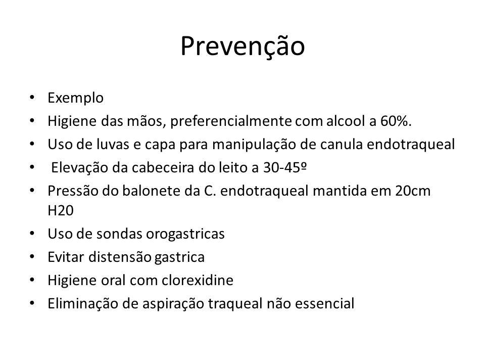 Prevenção Exemplo Higiene das mãos, preferencialmente com alcool a 60%. Uso de luvas e capa para manipulação de canula endotraqueal Elevação da cabece