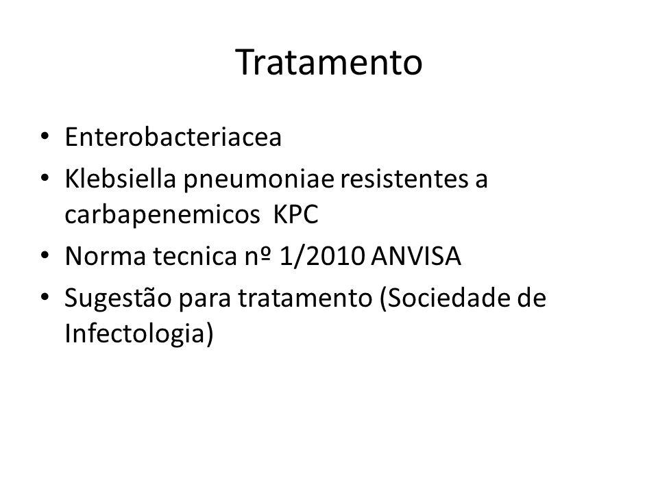 Tratamento Enterobacteriacea Klebsiella pneumoniae resistentes a carbapenemicos KPC Norma tecnica nº 1/2010 ANVISA Sugestão para tratamento (Sociedade