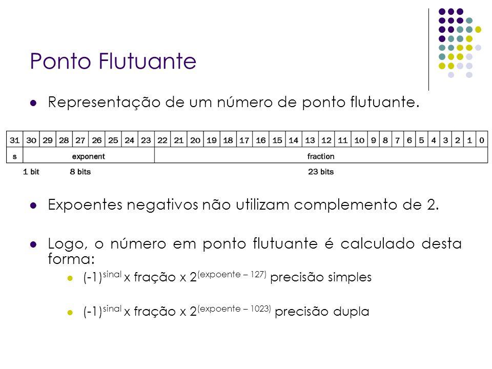 Ponto Flutuante Representação de um número de ponto flutuante. Expoentes negativos não utilizam complemento de 2. Logo, o número em ponto flutuante é