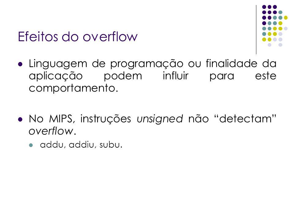 """Efeitos do overflow Linguagem de programação ou finalidade da aplicação podem influir para este comportamento. No MIPS, instruções unsigned não """"detec"""