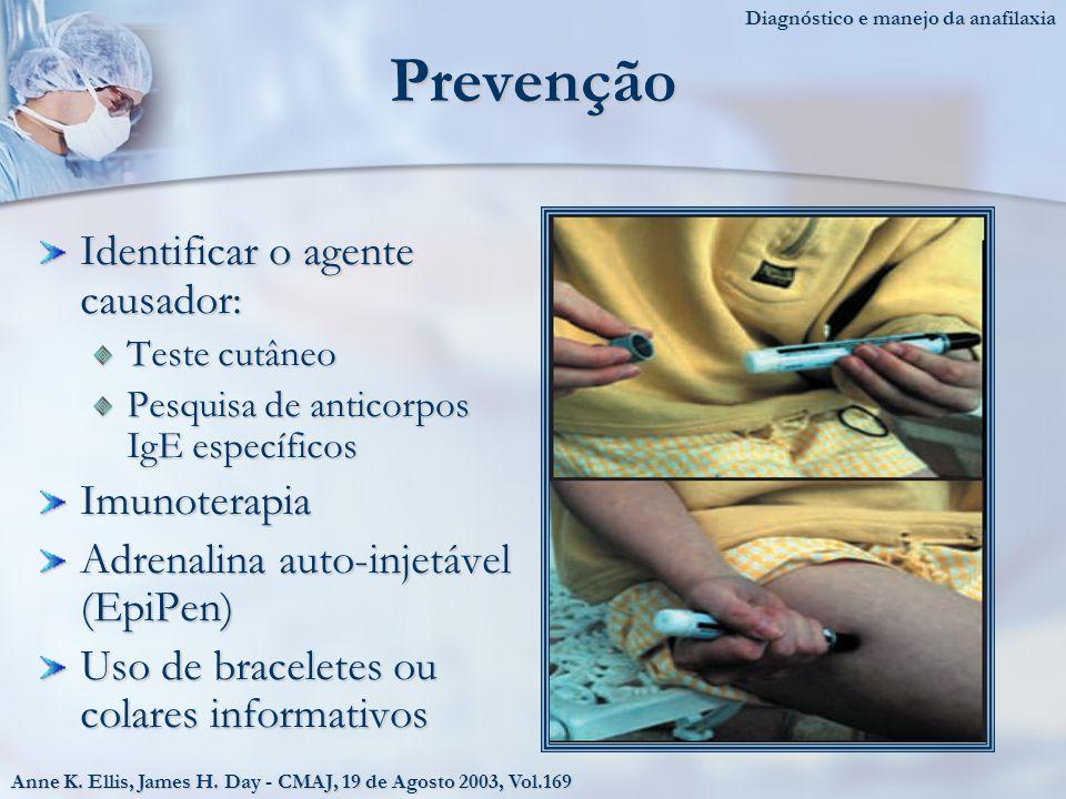 Prevenção Identificar o agente causador: Teste cutâneo Pesquisa de anticorpos IgE específicos Imunoterapia Adrenalina auto-injetável (EpiPen) Uso de braceletes ou colares informativos Anne K.