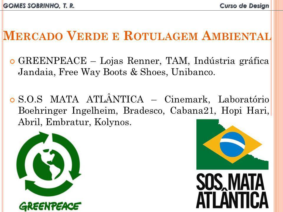 GOMES SOBRINHO, T. R. Curso de Design M ERCADO V ERDE E R OTULAGEM A MBIENTAL GREENPEACE – Lojas Renner, TAM, Indústria gráfica Jandaia, Free Way Boot