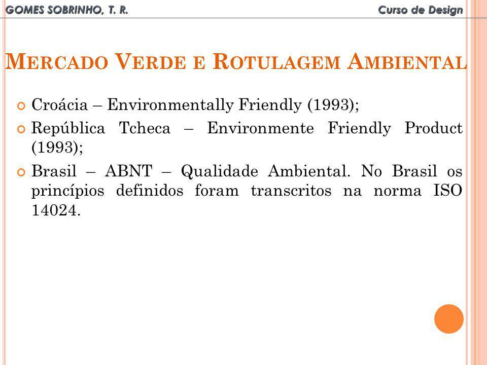 GOMES SOBRINHO, T. R. Curso de Design M ERCADO V ERDE E R OTULAGEM A MBIENTAL Croácia – Environmentally Friendly (1993); República Tcheca – Environmen