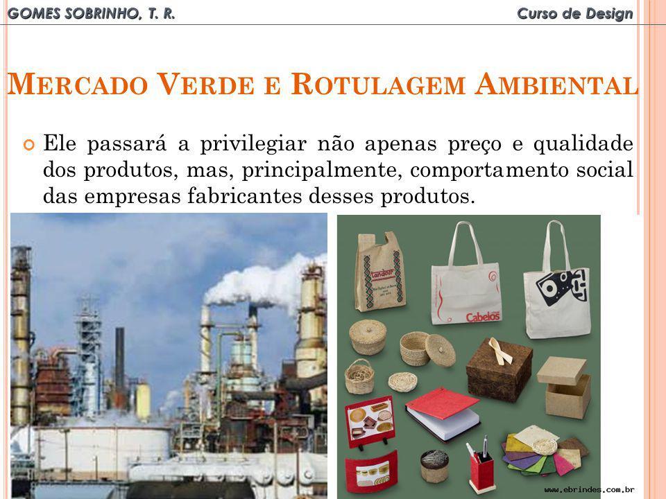 GOMES SOBRINHO, T. R. Curso de Design M ERCADO V ERDE E R OTULAGEM A MBIENTAL Ele passará a privilegiar não apenas preço e qualidade dos produtos, mas