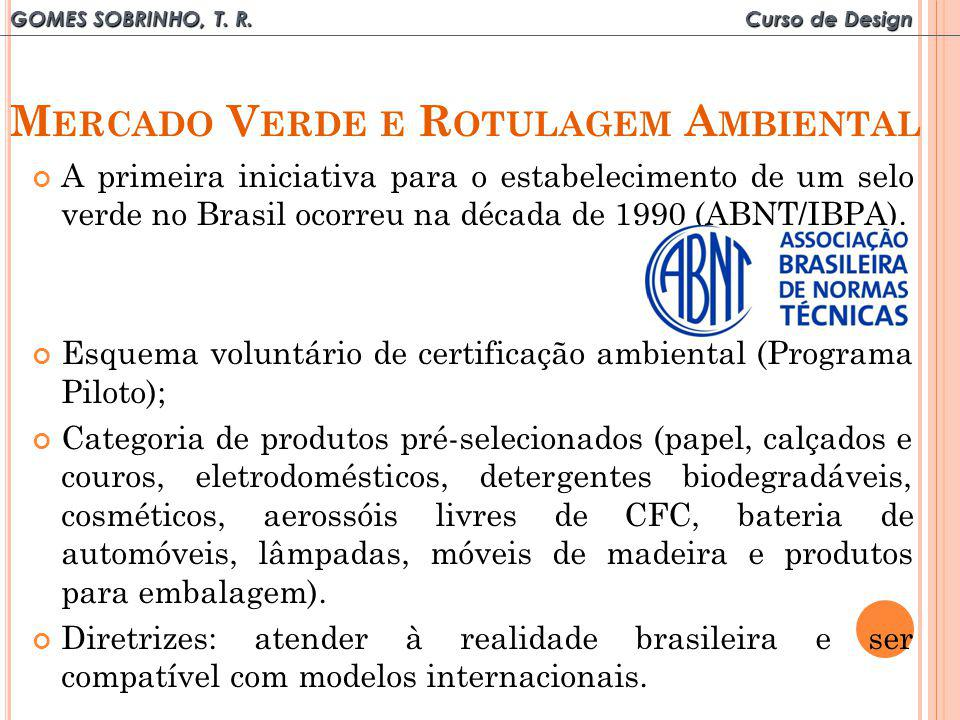 GOMES SOBRINHO, T. R. Curso de Design M ERCADO V ERDE E R OTULAGEM A MBIENTAL A primeira iniciativa para o estabelecimento de um selo verde no Brasil