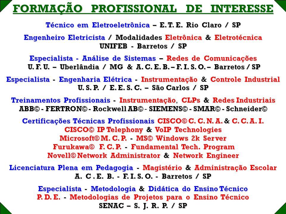 FORMAÇÃO PROFISSIONAL DE INTERESSE Técnico em Eletroeletrônica – E. T. E. Rio Claro / SP Engenheiro Eletricista / Modalidades Eletrônica & Eletrotécni