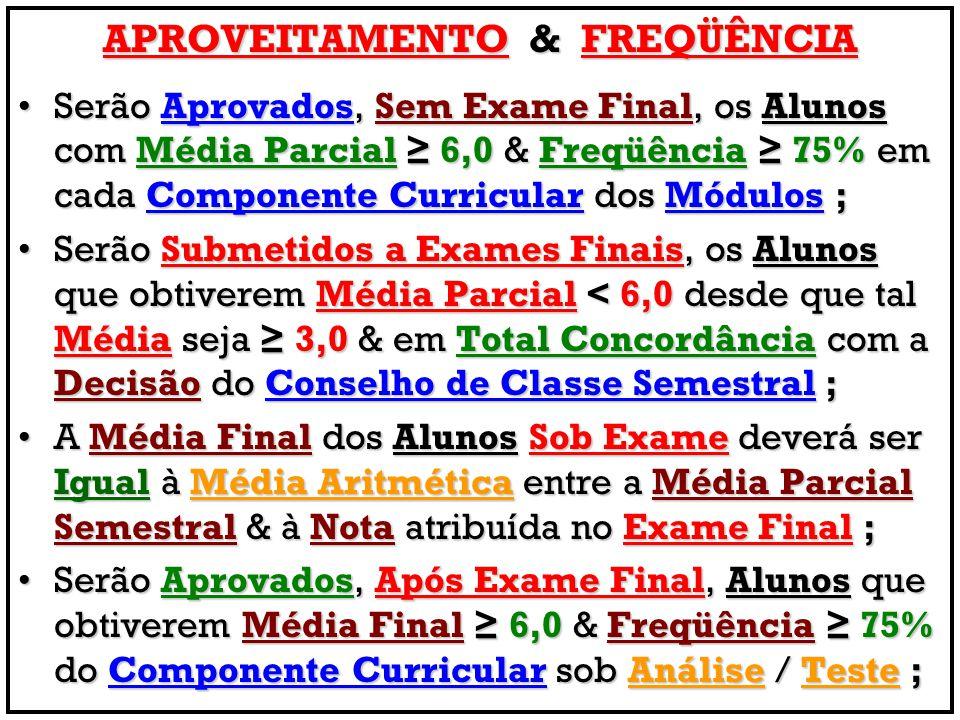 APROVEITAMENTO & FREQÜÊNCIA Serão Aprovados, Sem Exame Final, os Alunos com Média Parcial ≥ 6,0 & Freqüência ≥ 75% em cada Componente Curricular dos M