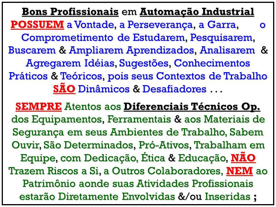 Bons Profissionais em Automação Industrial POSSUEM a Vontade, a Perseverança, a Garra, o Comprometimento de Estudarem, Pesquisarem, Buscarem & Ampliar