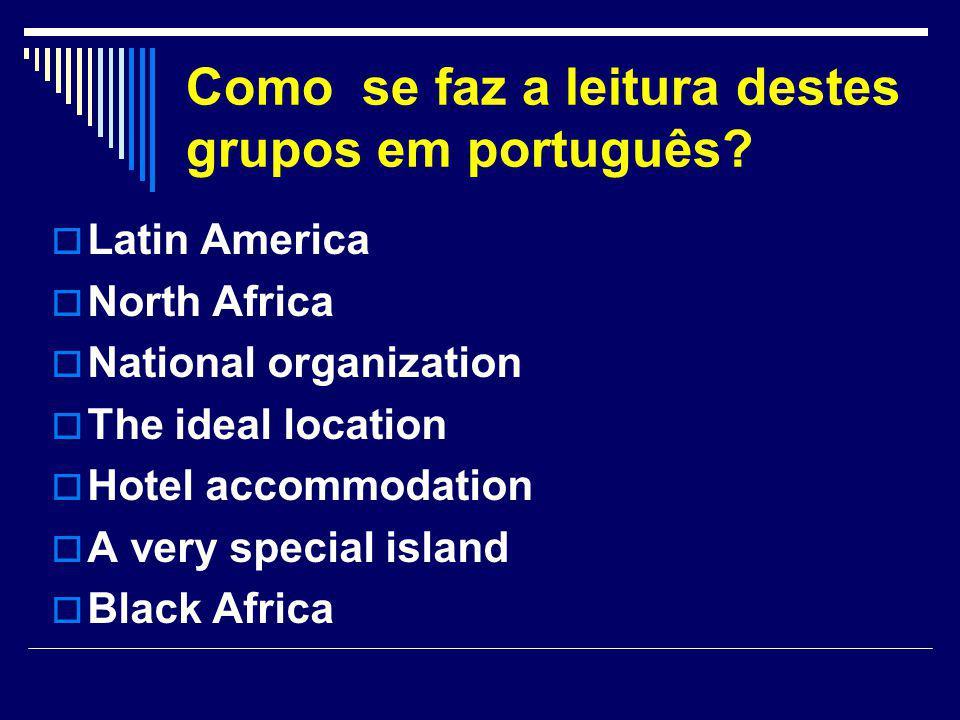 Como se faz a leitura destes grupos em português?  Latin America  North Africa  National organization  The ideal location  Hotel accommodation 