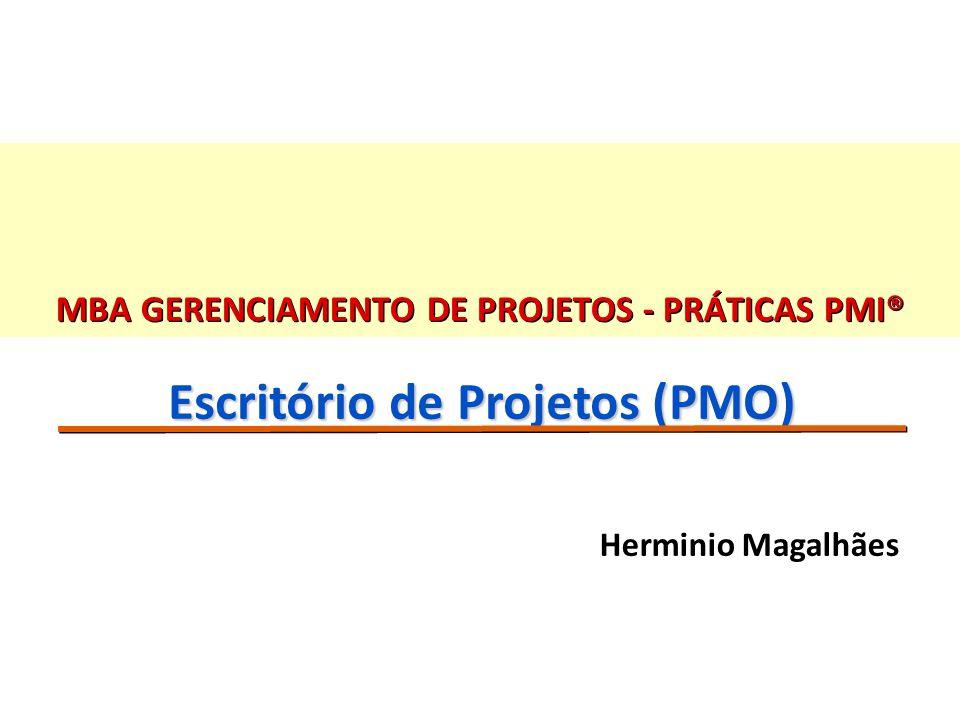 42 Algumas métricas genéricas para o PMO n Qtde de requisições feitas ao PMO (mês); n Qtde de projetos trabalhados pelo PMO (mês); n Qtde de projetos iniciados / concluídos (mês); n Média de fases do ciclo dos projetos sem apoio do PMO; n Média de fases do ciclo dos projetos com apoio do PMO; n Número de falhas de projeto antes do PMO (trimestre); n Número de falhas de projeto depois do PMO (trimestre); n Propostas emitidas com a devida análise de riscos; n Registro e recuperação de informações na base de conhecimento; n Pesquisas de Satisfação / avaliação geral (stakeholders, gerente e time do PMO).