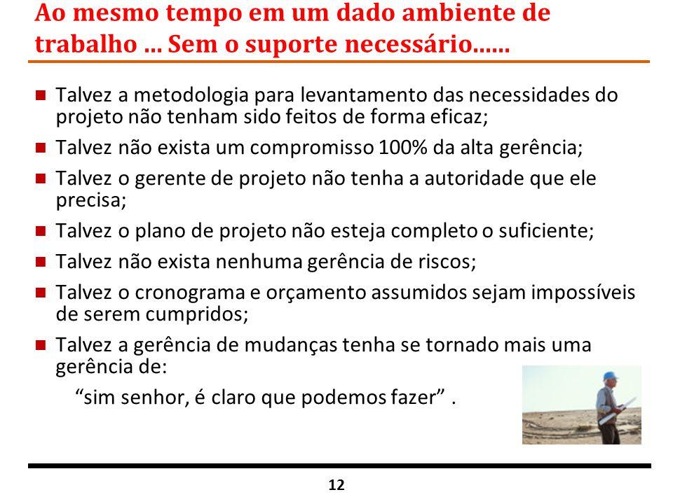 12 Ao mesmo tempo em um dado ambiente de trabalho... Sem o suporte necessário...... n Talvez a metodologia para levantamento das necessidades do proje