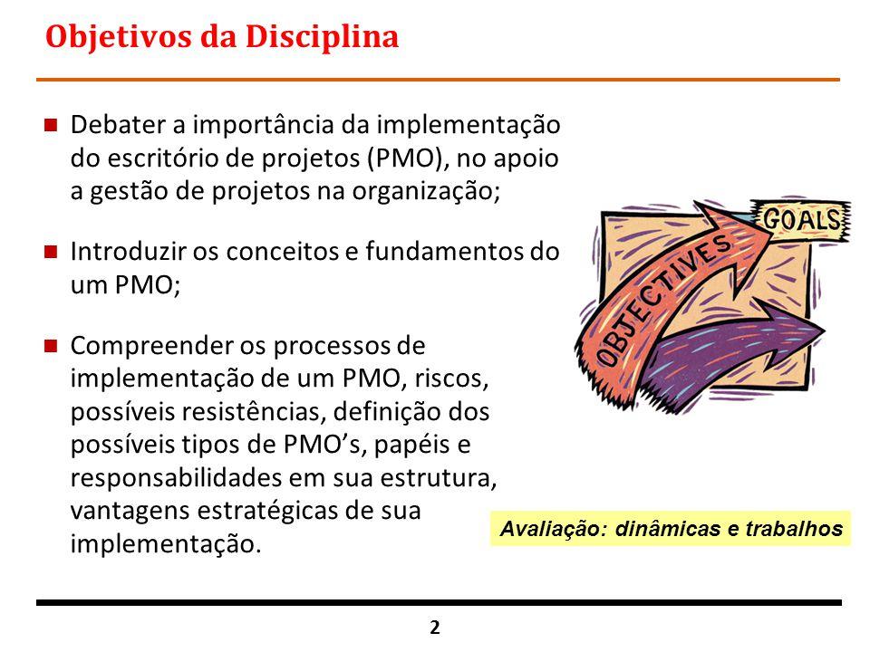 2 Objetivos da Disciplina n Debater a importância da implementação do escritório de projetos (PMO), no apoio a gestão de projetos na organização; n In