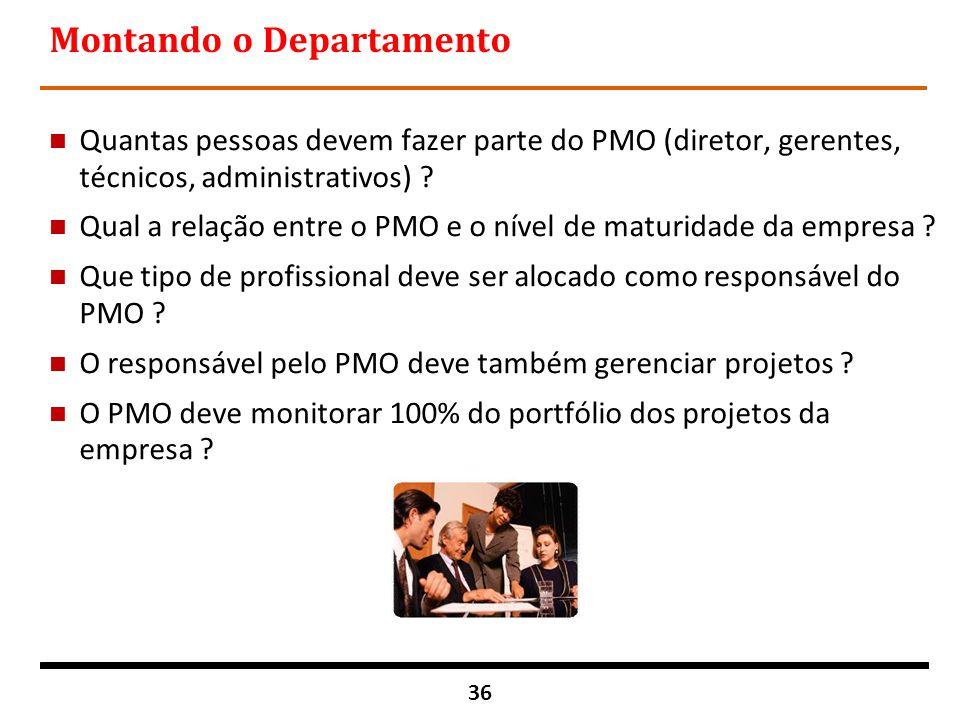 36 Montando o Departamento n Quantas pessoas devem fazer parte do PMO (diretor, gerentes, técnicos, administrativos) ? n Qual a relação entre o PMO e