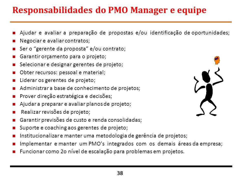 38 Responsabilidades do PMO Manager e equipe n Ajudar e avaliar a preparação de propostas e/ou identificação de oportunidades; n Negociar e avaliar co