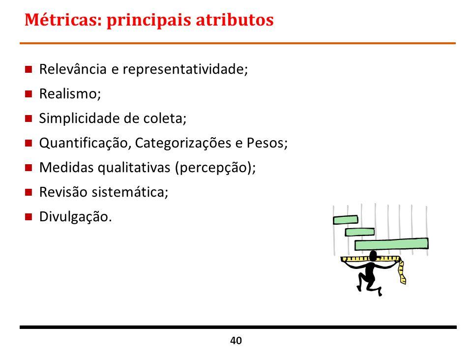 40 Métricas: principais atributos n Relevância e representatividade; n Realismo; n Simplicidade de coleta; n Quantificação, Categorizações e Pesos; n