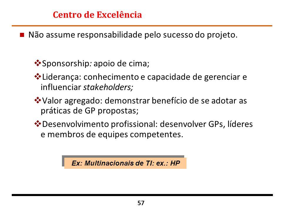 57 Centro de Excelência n Não assume responsabilidade pelo sucesso do projeto.  Sponsorship: apoio de cima;  Liderança: conhecimento e capacidade de