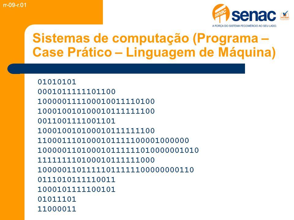 Sistemas de computação (Programa – Case Prático – Linguagem de Máquina) 01010101 0001011111101100 100000111100010011110100 100010010100010111111100 00
