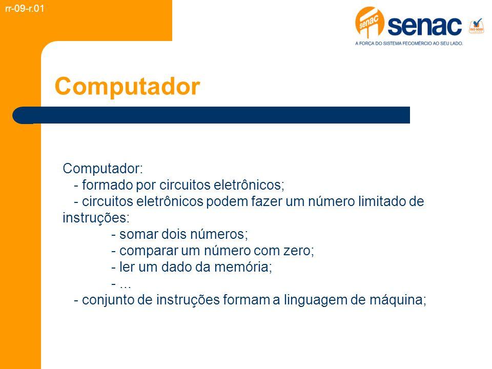 Computador Computador: - formado por circuitos eletrônicos; - circuitos eletrônicos podem fazer um número limitado de instruções: - somar dois números; - comparar um número com zero; - ler um dado da memória; -...