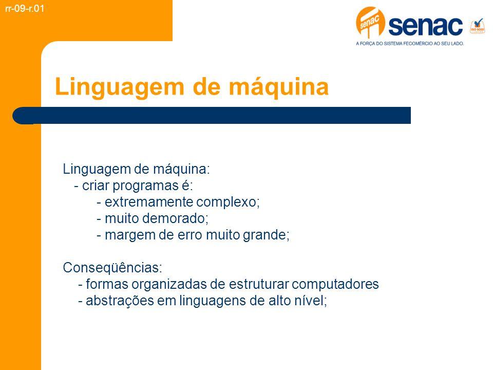 Linguagem de máquina Linguagem de máquina: - criar programas é: - extremamente complexo; - muito demorado; - margem de erro muito grande; Conseqüência