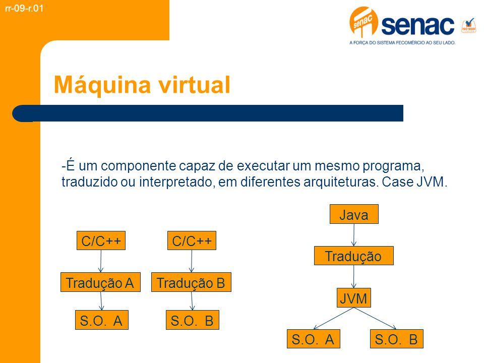 Máquina virtual -É um componente capaz de executar um mesmo programa, traduzido ou interpretado, em diferentes arquiteturas. Case JVM. rr-09-r.01 C/C+
