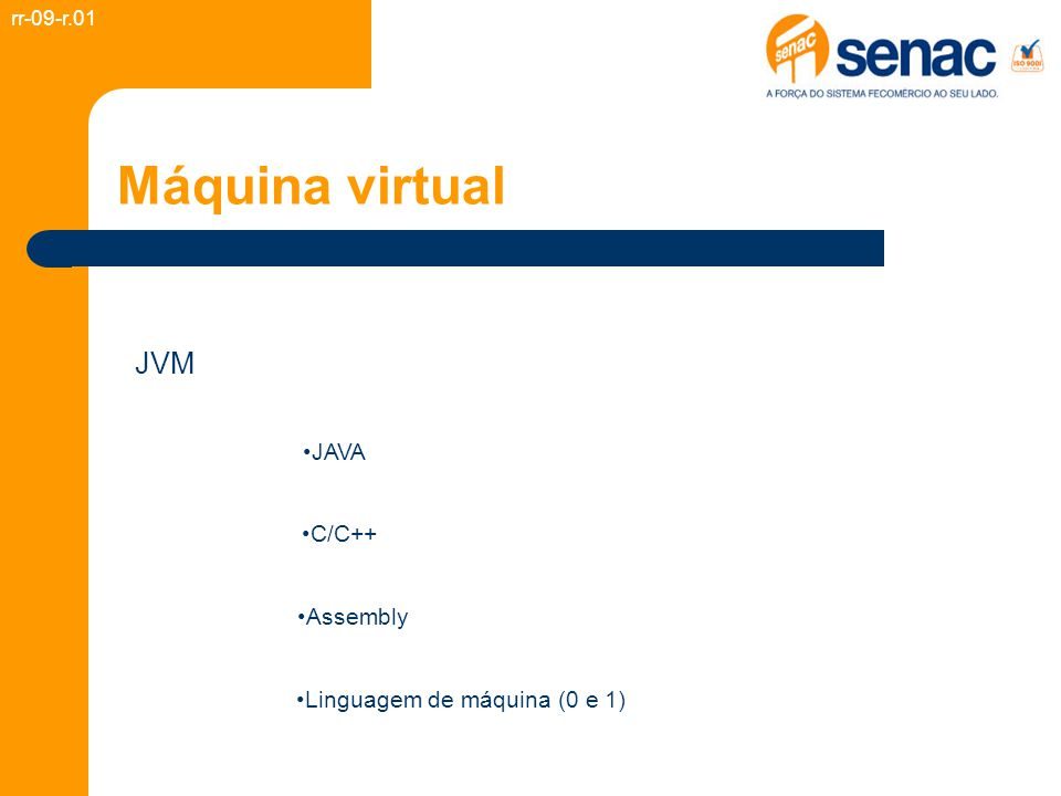 Máquina virtual JVM rr-09-r.01 Linguagem de máquina (0 e 1) Assembly C/C++ JAVA