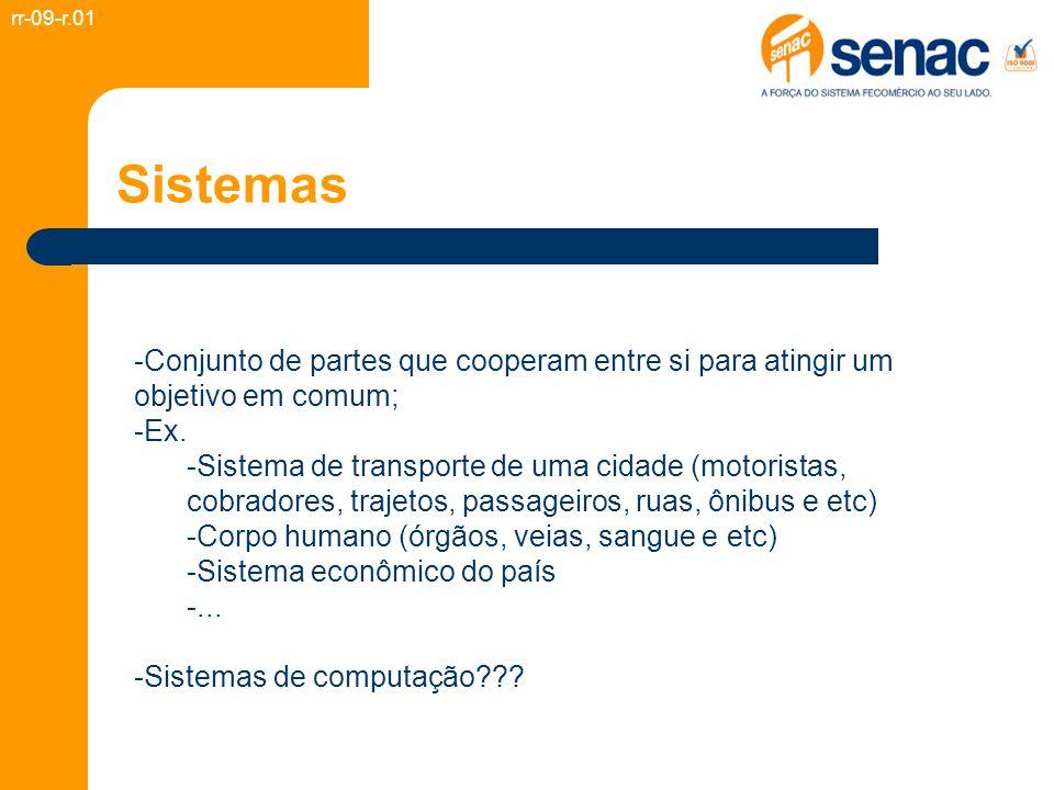Sistemas -Conjunto de partes que cooperam entre si para atingir um objetivo em comum; -Ex. -Sistema de transporte de uma cidade (motoristas, cobradore