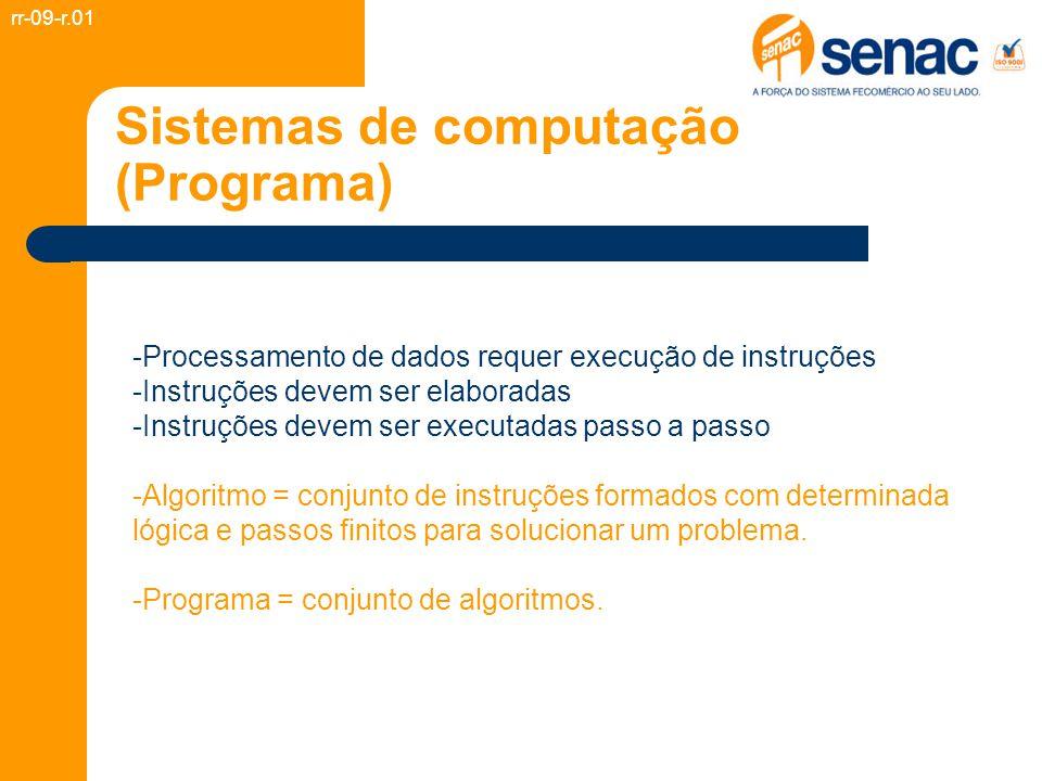 Sistemas de computação (Programa) -Processamento de dados requer execução de instruções -Instruções devem ser elaboradas -Instruções devem ser executadas passo a passo -Algoritmo = conjunto de instruções formados com determinada lógica e passos finitos para solucionar um problema.