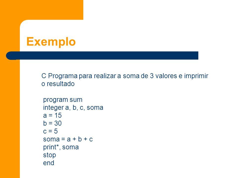 Exemplo C Programa para realizar a soma de 3 valores e imprimir o resultado program sum integer a, b, c, soma a = 15 b = 30 c = 5 soma = a + b + c print*, soma stop end