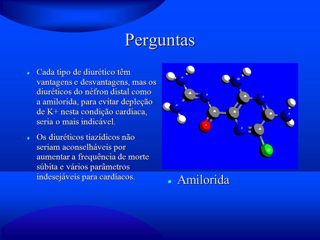 Perguntas Cada tipo de diurético têm vantagens e desvantagens, mas os diuréticos do néfron distal como a amilorida, para evitar depleção de K+ nesta c