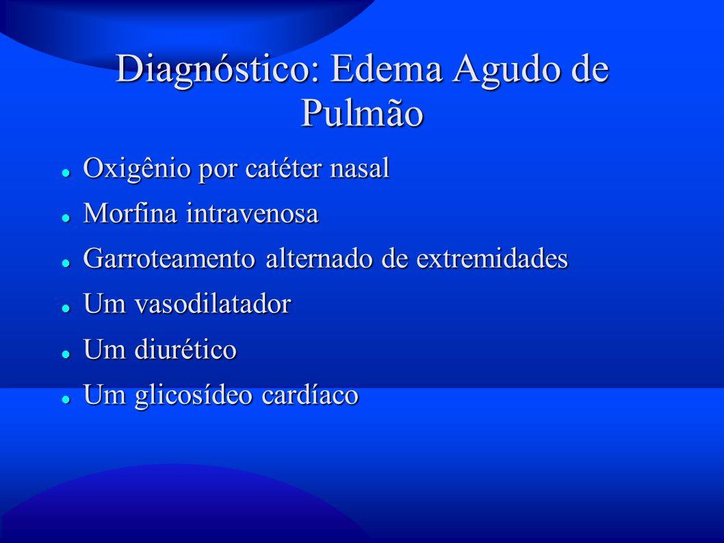 Diagnóstico: Edema Agudo de Pulmão Oxigênio por catéter nasal Oxigênio por catéter nasal Morfina intravenosa Morfina intravenosa Garroteamento alterna