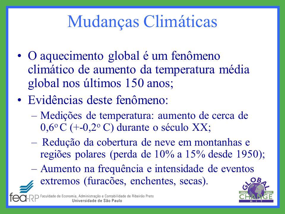 O aquecimento global é um fenômeno climático de aumento da temperatura média global nos últimos 150 anos; Evidências deste fenômeno: –Medições de temperatura: aumento de cerca de 0,6 o C (+-0,2 o C) durante o século XX; – Redução da cobertura de neve em montanhas e regiões polares (perda de 10% a 15% desde 1950); –Aumento na frequência e intensidade de eventos extremos (furacões, enchentes, secas).