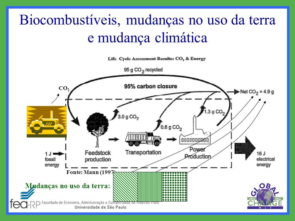 Fonte: Mann (1997) Mudanças no uso da terra: CO 2 FLORESTA Biocombustíveis, mudanças no uso da terra e mudança climática