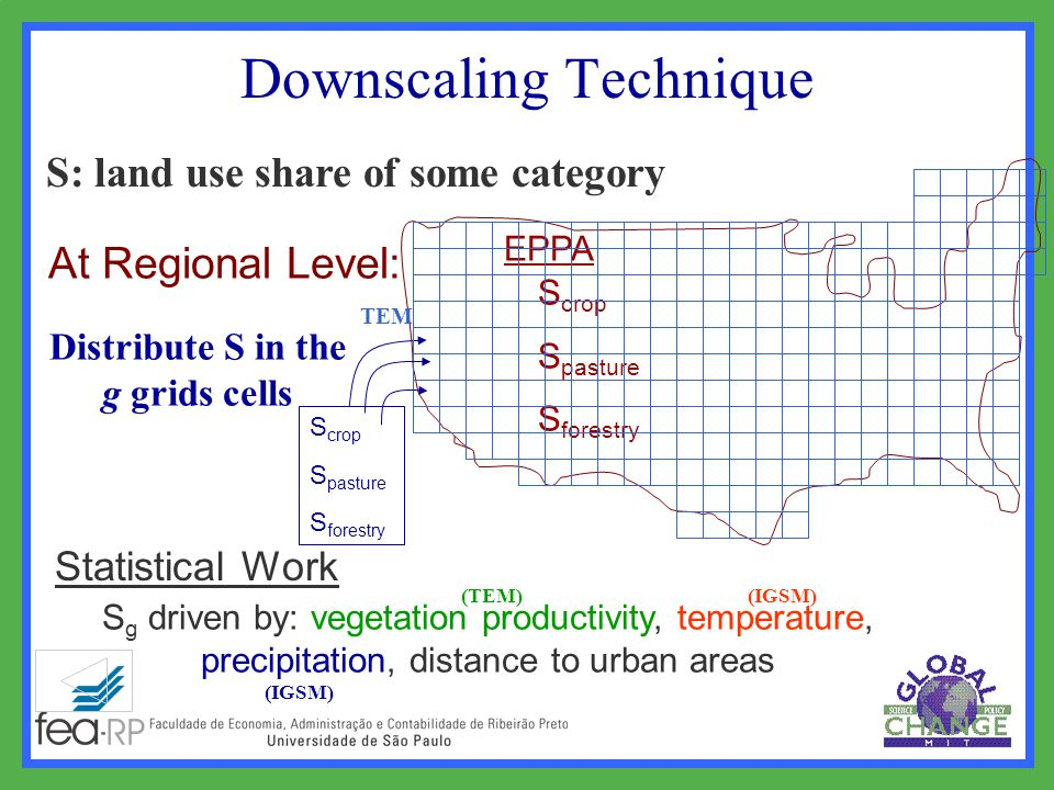 Downscaling Technique Statistical Work At Regional Level: EPPA S crop S pasture S forestry Distribute S in the g grids cells S: land use share of some