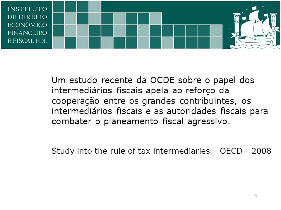 Um estudo recente da OCDE sobre o papel dos intermediários fiscais apela ao reforço da cooperação entre os grandes contribuintes, os intermediários fiscais e as autoridades fiscais para combater o planeamento fiscal agressivo.