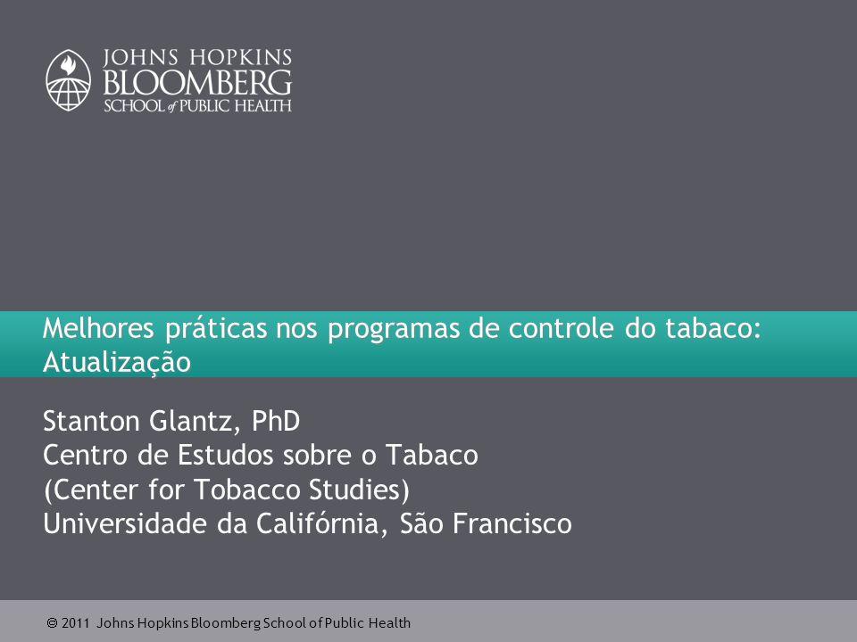  2011 Johns Hopkins Bloomberg School of Public Health Prevalência do tabagismo em adultos na Califórnia, 1984-2009 22 Fonte: California Department of Public Health (Departamento de Saúde Pública da Califórnia), California Tobacco Control Program (Programa de Controle do Tabaco da Califórnia), março de 2010.