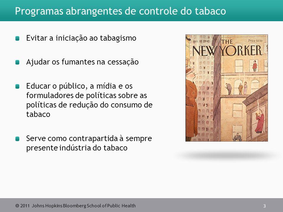 2011 Johns Hopkins Bloomberg School of Public Health Programas abrangentes de controle do tabaco Evitar a iniciação ao tabagismo Ajudar os fumantes