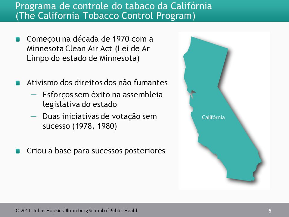  2011 Johns Hopkins Bloomberg School of Public Health Programa de controle do tabaco da Califórnia (The California Tobacco Control Program) Começou n
