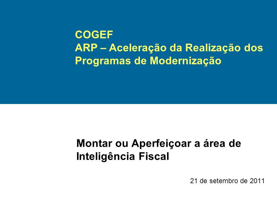 Montar ou Aperfeiçoar a área de Inteligência Fiscal 21 de setembro de 2011 COGEF ARP – Aceleração da Realização dos Programas de Modernização