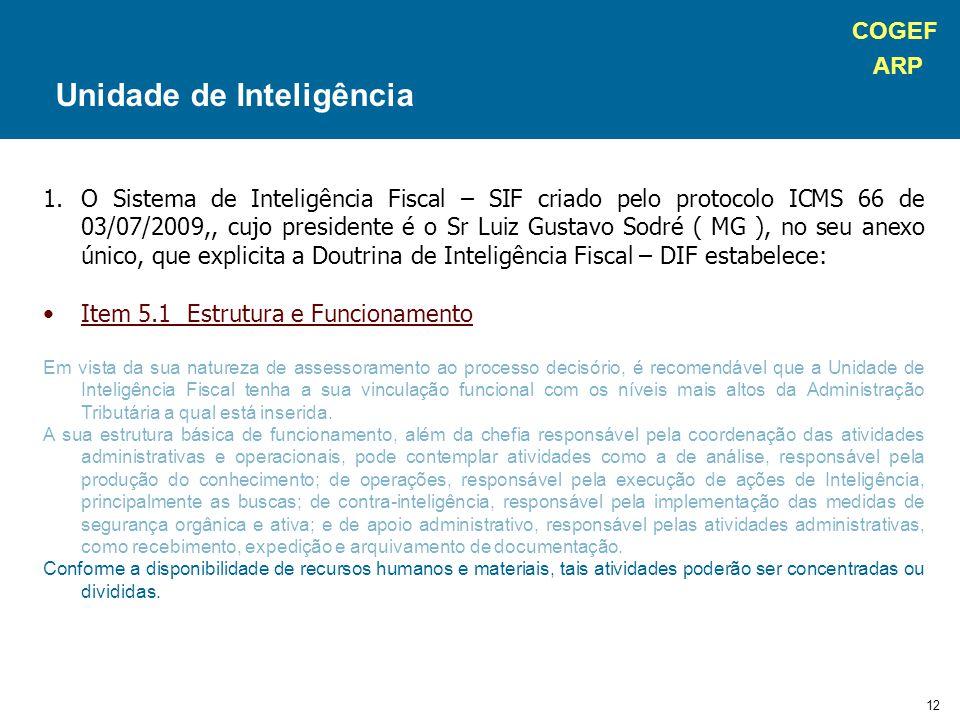 COGEF ARP 12 1.O Sistema de Inteligência Fiscal – SIF criado pelo protocolo ICMS 66 de 03/07/2009,, cujo presidente é o Sr Luiz Gustavo Sodré ( MG ), no seu anexo único, que explicita a Doutrina de Inteligência Fiscal – DIF estabelece: Item 5.1 Estrutura e Funcionamento Em vista da sua natureza de assessoramento ao processo decisório, é recomendável que a Unidade de Inteligência Fiscal tenha a sua vinculação funcional com os níveis mais altos da Administração Tributária a qual está inserida.