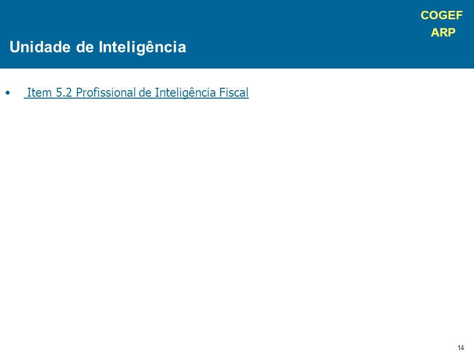 COGEF ARP 14 Item 5.2 Profissional de Inteligência Fiscal Unidade de Inteligência