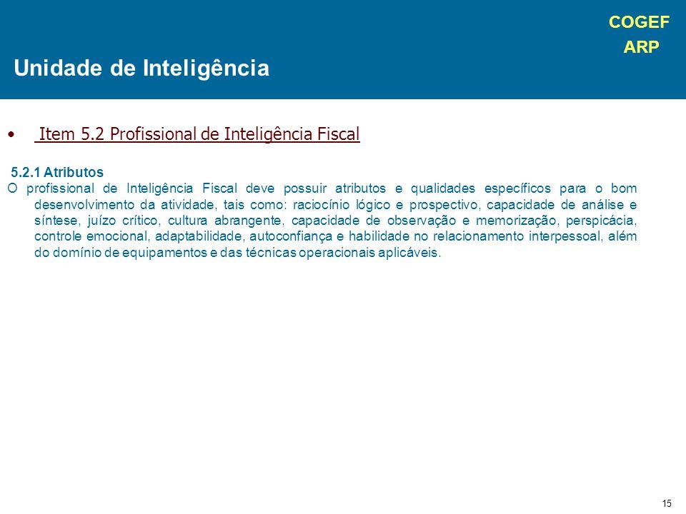 COGEF ARP 15 Item 5.2 Profissional de Inteligência Fiscal 5.2.1 Atributos O profissional de Inteligência Fiscal deve possuir atributos e qualidades es