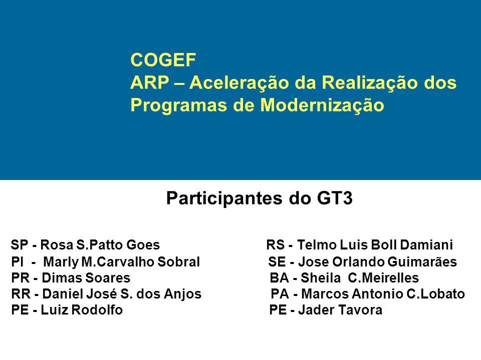 Participantes do GT3 SP - Rosa S.Patto Goes RS - Telmo Luis Boll Damiani PI - Marly M.Carvalho Sobral SE - Jose Orlando Guimarães PR - Dimas Soares BA - Sheila C.Meirelles RR - Daniel José S.