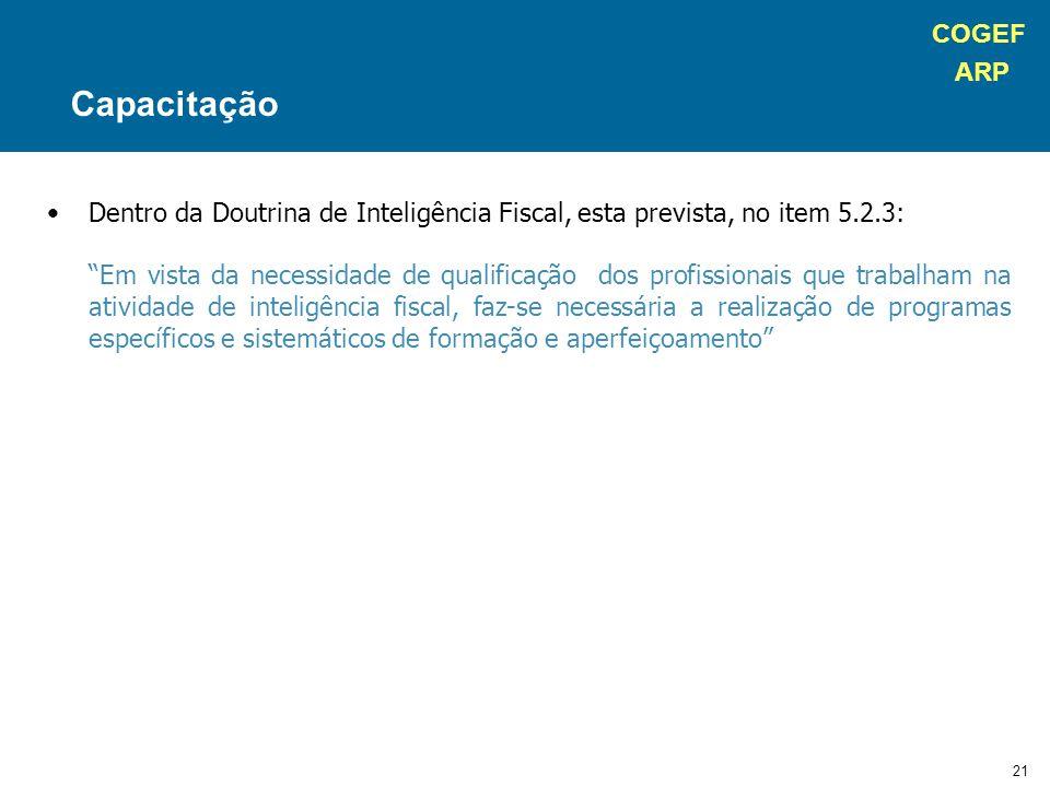 """COGEF ARP 21 Dentro da Doutrina de Inteligência Fiscal, esta prevista, no item 5.2.3: """"Em vista da necessidade de qualificação dos profissionais que t"""