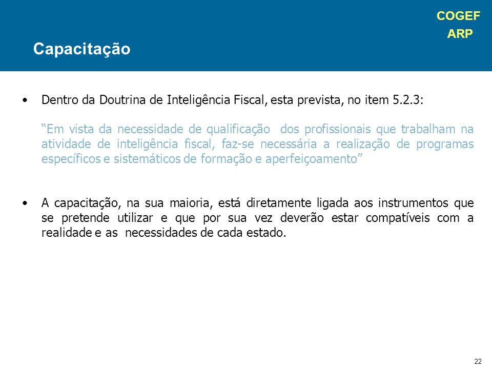 """COGEF ARP 22 Dentro da Doutrina de Inteligência Fiscal, esta prevista, no item 5.2.3: """"Em vista da necessidade de qualificação dos profissionais que t"""