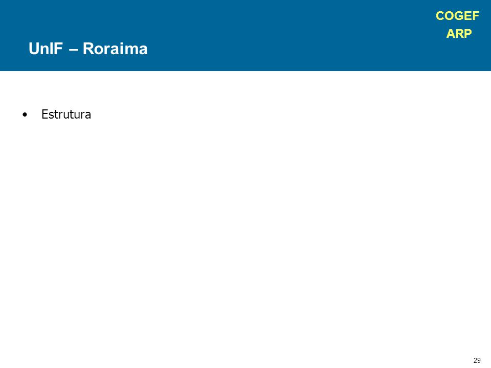 COGEF ARP 29 Estrutura UnIF – Roraima