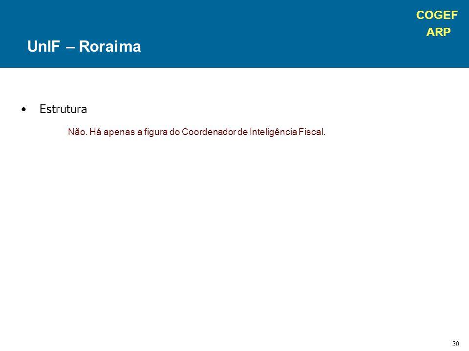 COGEF ARP 30 Estrutura Não. Há apenas a figura do Coordenador de Inteligência Fiscal. UnIF – Roraima